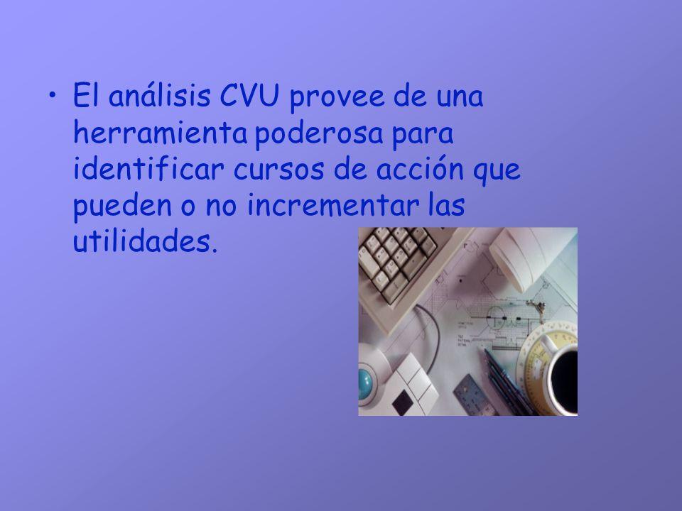 El análisis CVU provee de una herramienta poderosa para identificar cursos de acción que pueden o no incrementar las utilidades.