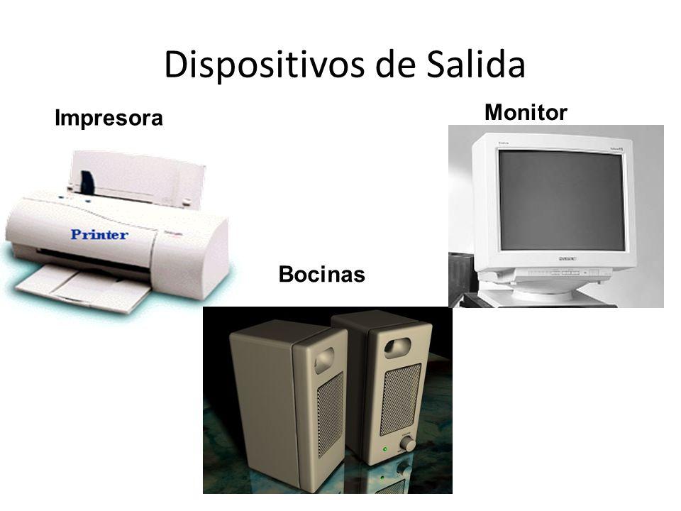 Dispositivos de Salida Estos dispositivos permiten al usuario ver los resultados de los cálculos o de las manipulaciones de datos de la computadora.