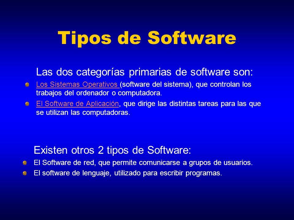 Tipos de Software Las dos categorías primarias de software son: Los Sistemas Operativos Los Sistemas Operativos (software del sistema), que controlan
