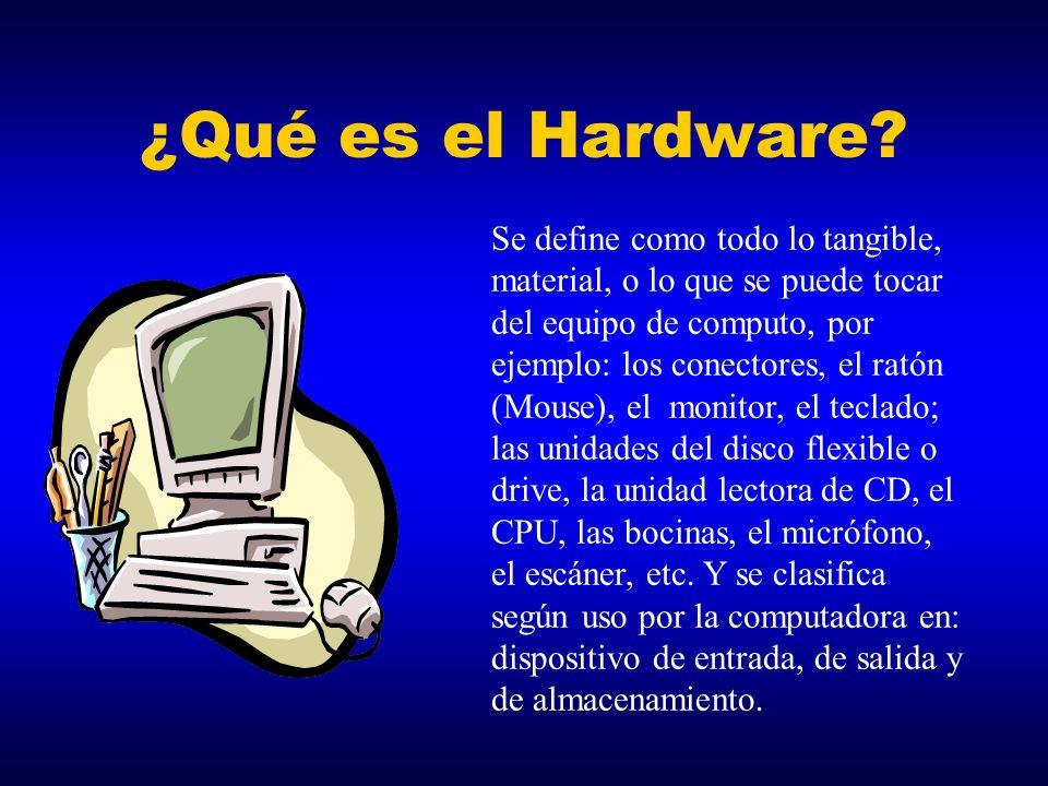 ÍNDICE ¿Qué es el Hardware? Divisiones de Hardware Dispositivos de Entrada Dispositivos de Salida Dispositivos de Almacenamiento ¿Qué es el Software?