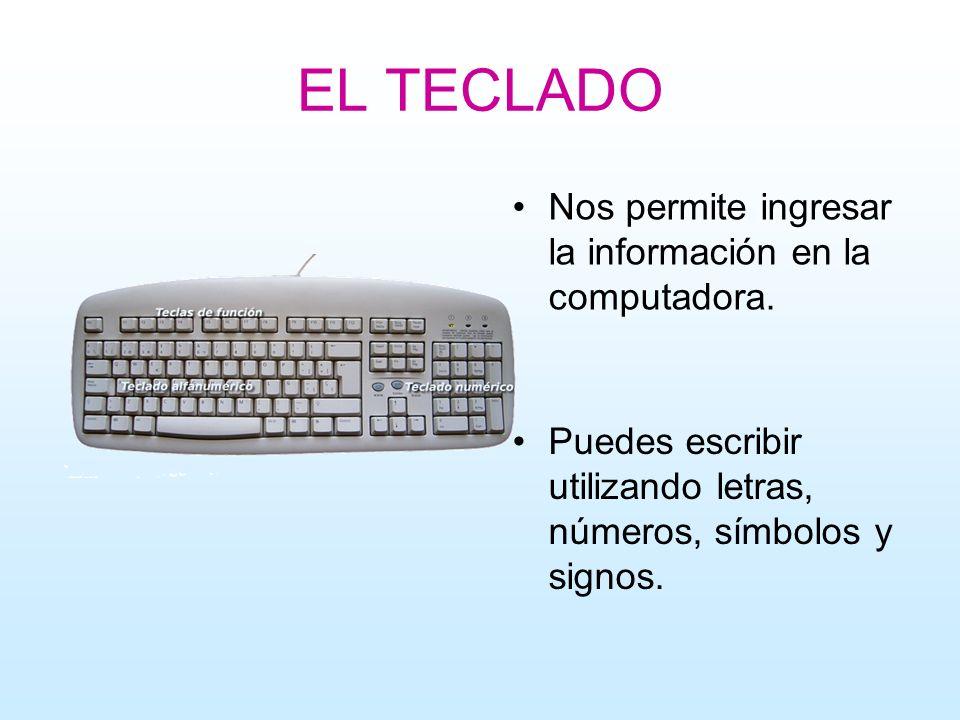EL TECLADO Nos permite ingresar la información en la computadora. Puedes escribir utilizando letras, números, símbolos y signos.
