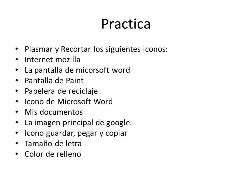 Practica Plasmar y Recortar los siguientes iconos: Internet mozilla La pantalla de micorsoft word Pantalla de Paint Papelera de reciclaje Icono de Microsoft Word Mis documentos La imagen principal de google.