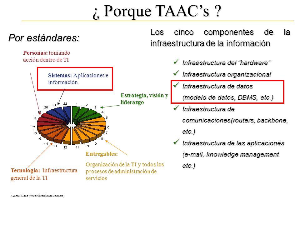 ¿ Porque TAACs ? Por estándares: Los cinco componentes de la infraestructura de la información Infraestructura del hardware Infraestructura del hardwa