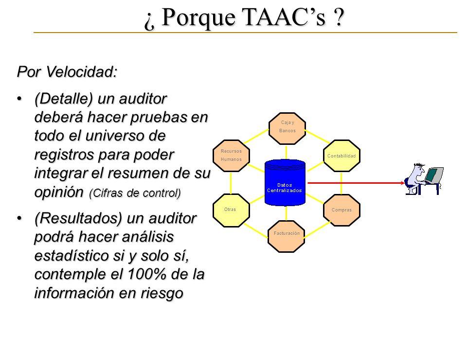 ¿ Porque TAACs ? Por Velocidad: (Detalle) un auditor deberá hacer pruebas en todo el universo de registros para poder integrar el resumen de su opinió