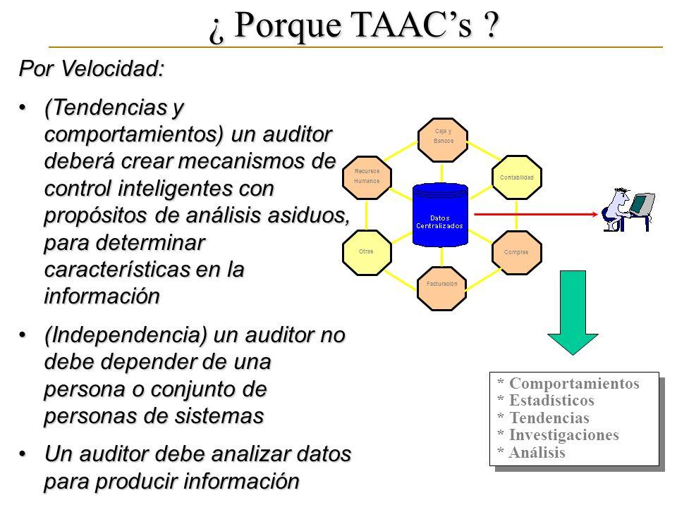 ¿ Porque TAACs ? Por Velocidad: (Tendencias y comportamientos) un auditor deberá crear mecanismos de control inteligentes con propósitos de análisis a