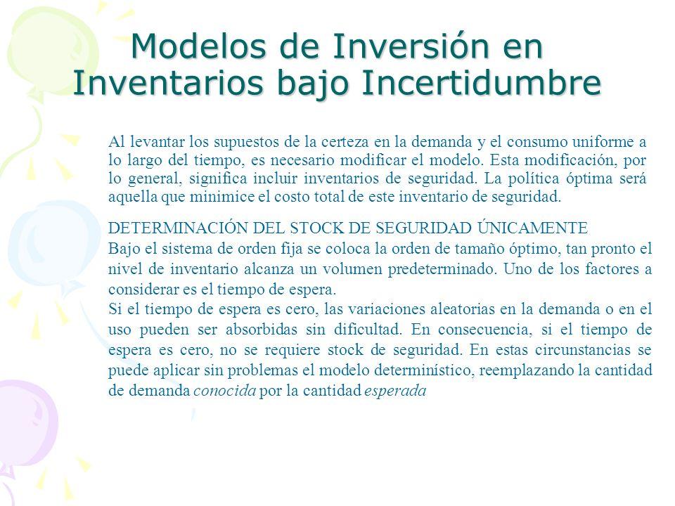 Modelos de Inversión en Inventarios bajo Incertidumbre Al levantar los supuestos de la certeza en la demanda y el consumo uniforme a lo largo del tiem
