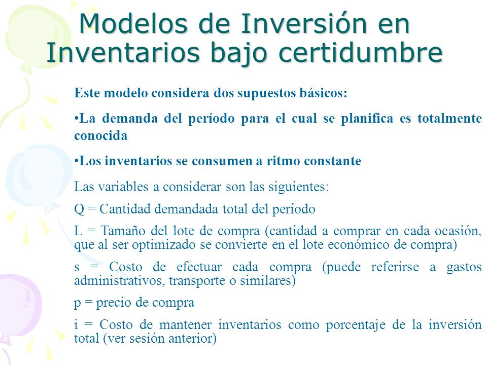 Modelos de Inversión en Inventarios bajo certidumbre Este modelo considera dos supuestos básicos: La demanda del período para el cual se planifica es