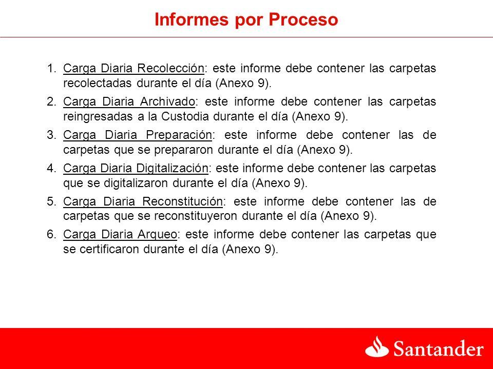 Nombre Informe : Carga Diaria Proceso Formato: Access Campos: Nº Garantía, Rut cliente.