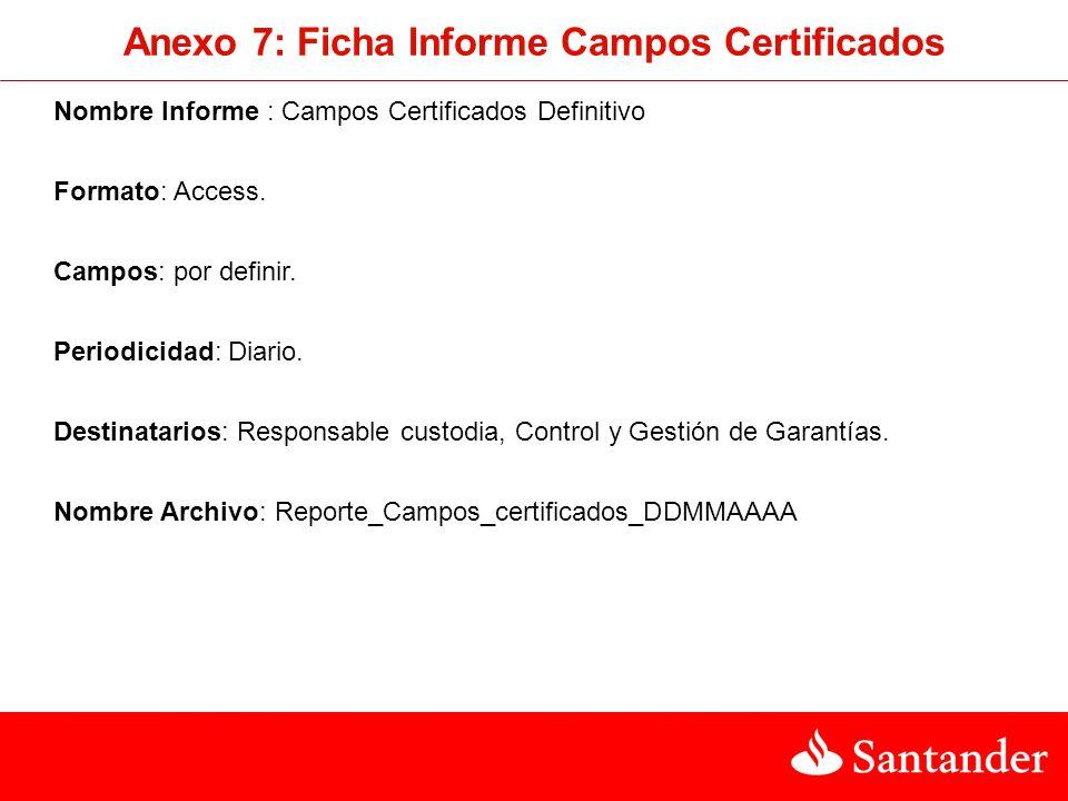 Nombre Informe : Campos Certificados Definitivo Formato: Access. Campos: por definir. Periodicidad: Diario. Destinatarios: Responsable custodia, Contr