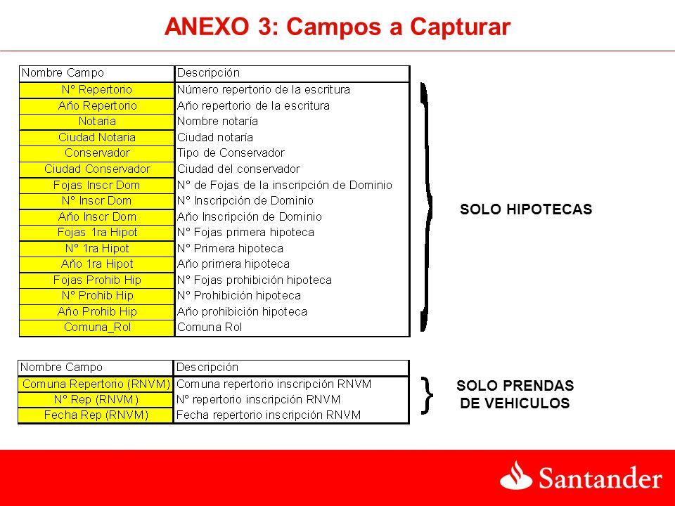 ANEXO 3: Campos a Capturar SOLO HIPOTECAS SOLO PRENDAS DE VEHICULOS