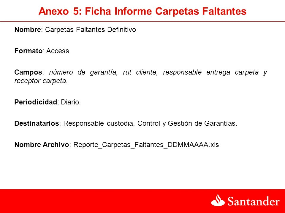 Nombre: Carpetas Faltantes Definitivo Formato: Access.