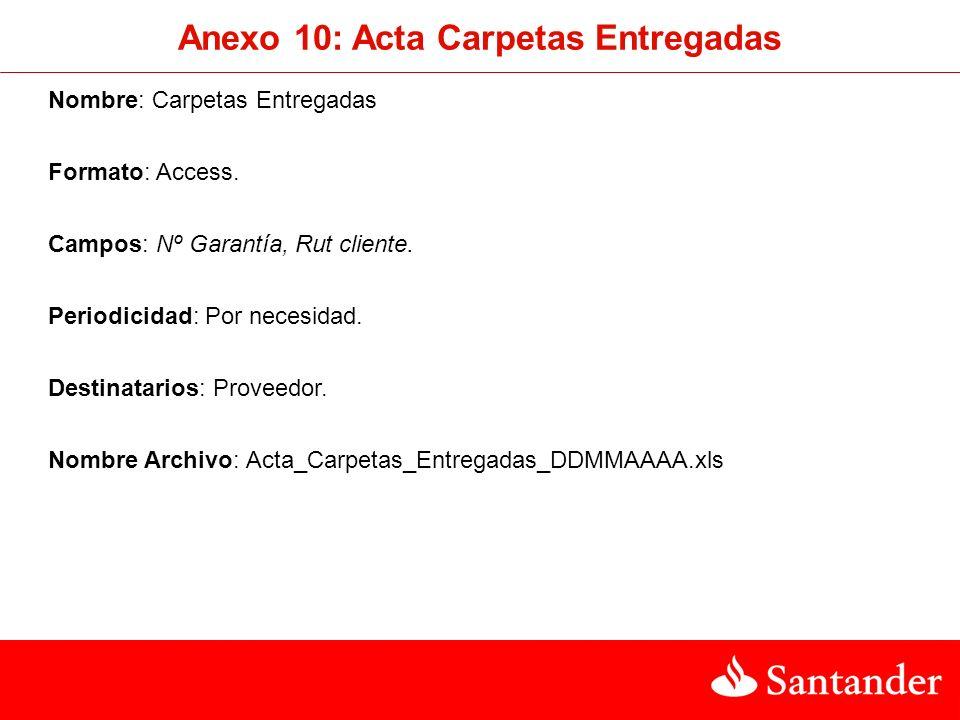 Nombre: Carpetas Entregadas Formato: Access.Campos: Nº Garantía, Rut cliente.