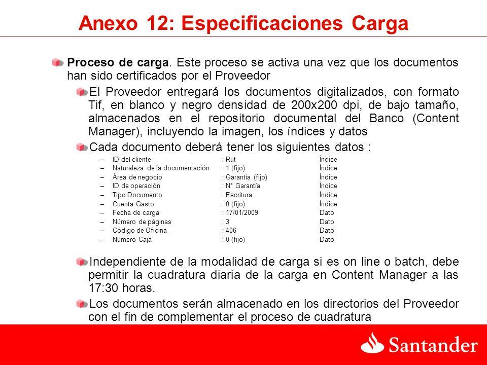 Anexo 12: Especificaciones Carga Proceso de carga. Este proceso se activa una vez que los documentos han sido certificados por el Proveedor El Proveed