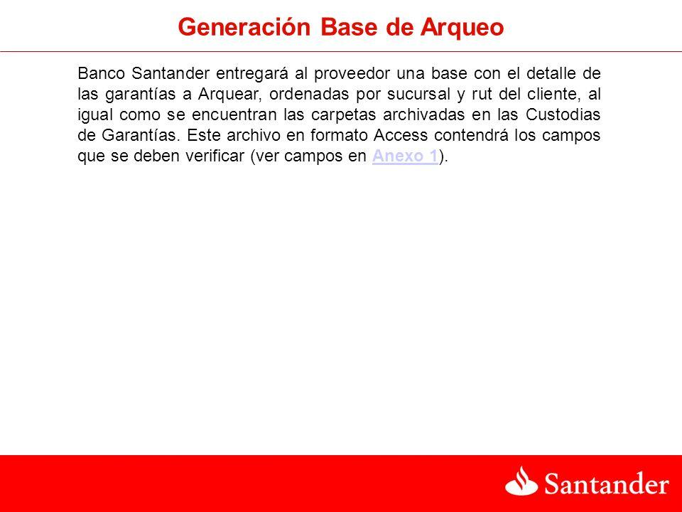Generación Base de Arqueo Banco Santander entregará al proveedor una base con el detalle de las garantías a Arquear, ordenadas por sucursal y rut del cliente, al igual como se encuentran las carpetas archivadas en las Custodias de Garantías.