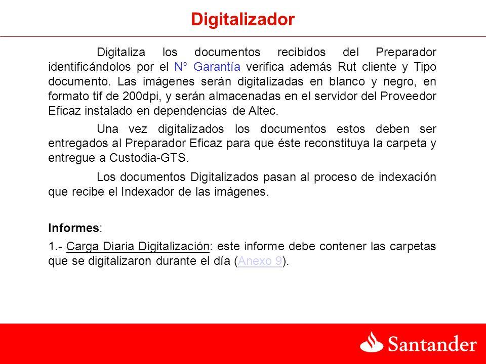 Digitalizador Digitaliza los documentos recibidos del Preparador identificándolos por el N° Garantía verifica además Rut cliente y Tipo documento.
