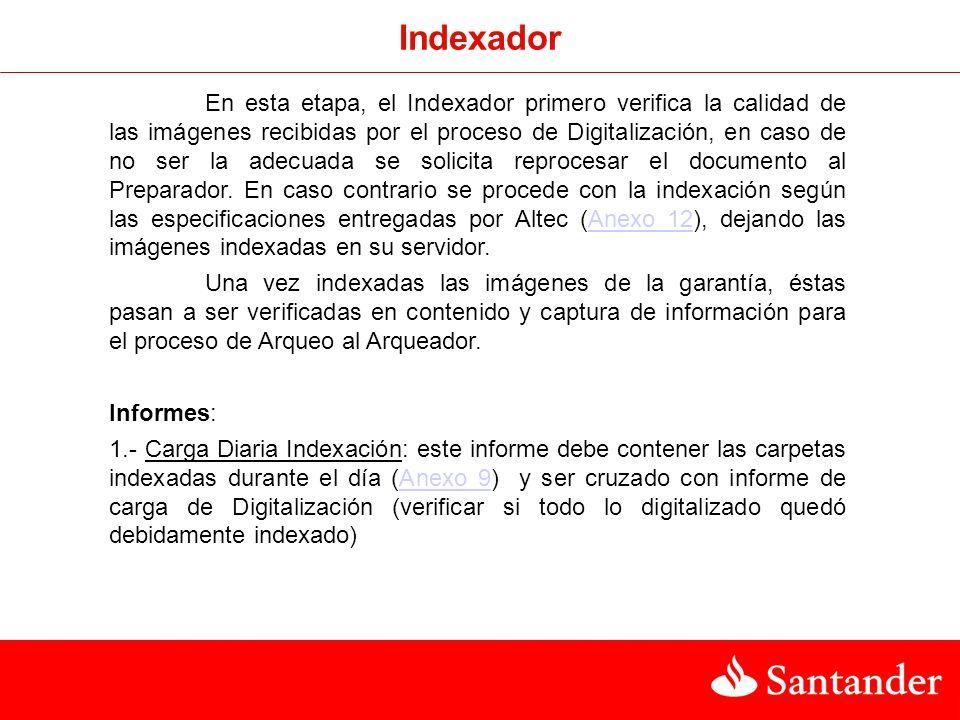 Indexador En esta etapa, el Indexador primero verifica la calidad de las imágenes recibidas por el proceso de Digitalización, en caso de no ser la adecuada se solicita reprocesar el documento al Preparador.