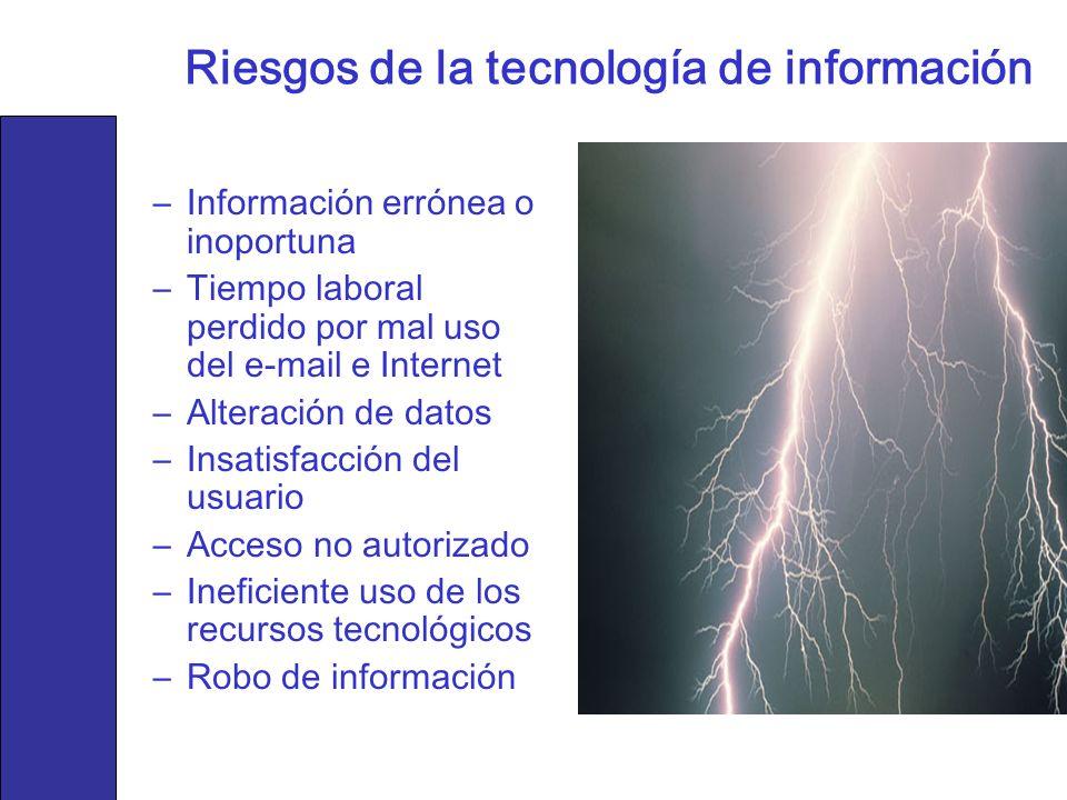 Riesgos de la tecnología de información –Información errónea o inoportuna –Tiempo laboral perdido por mal uso del e-mail e Internet –Alteración de dat