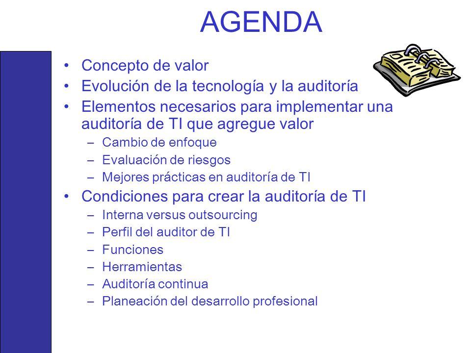 AGENDA Concepto de valor Evolución de la tecnología y la auditoría Elementos necesarios para implementar una auditoría de TI que agregue valor –Cambio
