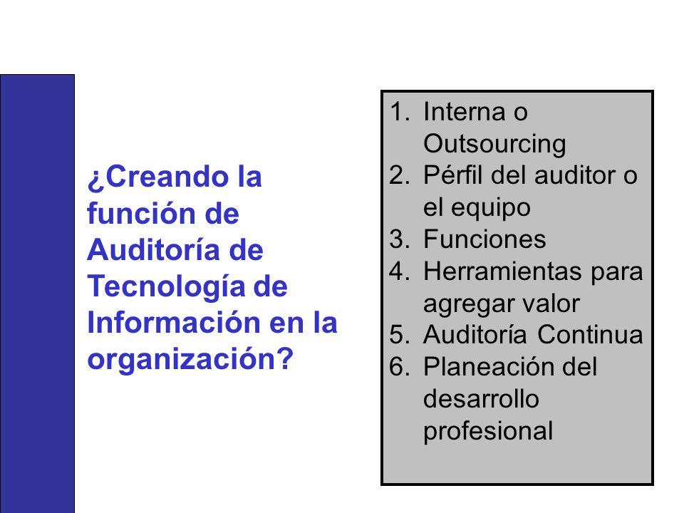 1.Interna o Outsourcing 2.Pérfil del auditor o el equipo 3.Funciones 4.Herramientas para agregar valor 5.Auditoría Continua 6.Planeación del desarroll