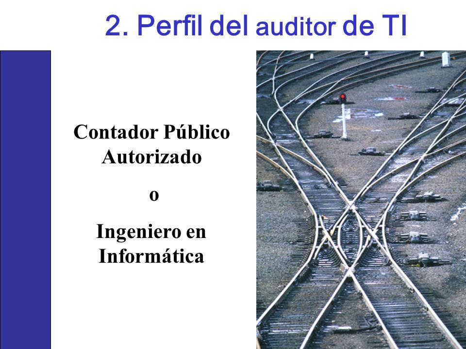 2. Perfil del auditor de TI Contador Público Autorizado o Ingeniero en Informática