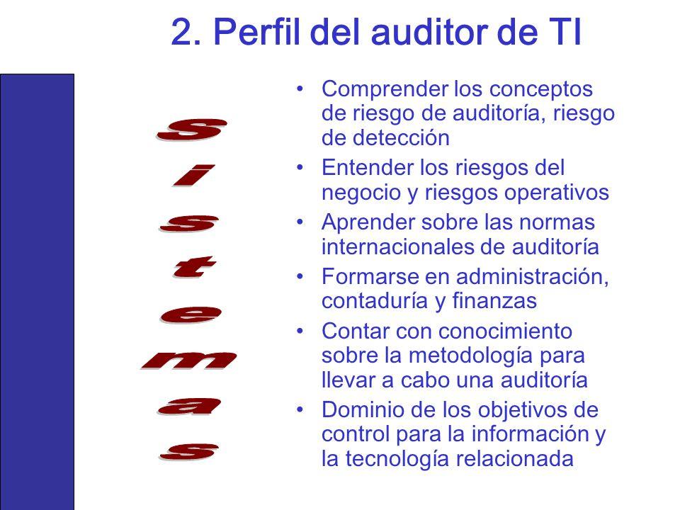 Comprender los conceptos de riesgo de auditoría, riesgo de detección Entender los riesgos del negocio y riesgos operativos Aprender sobre las normas i