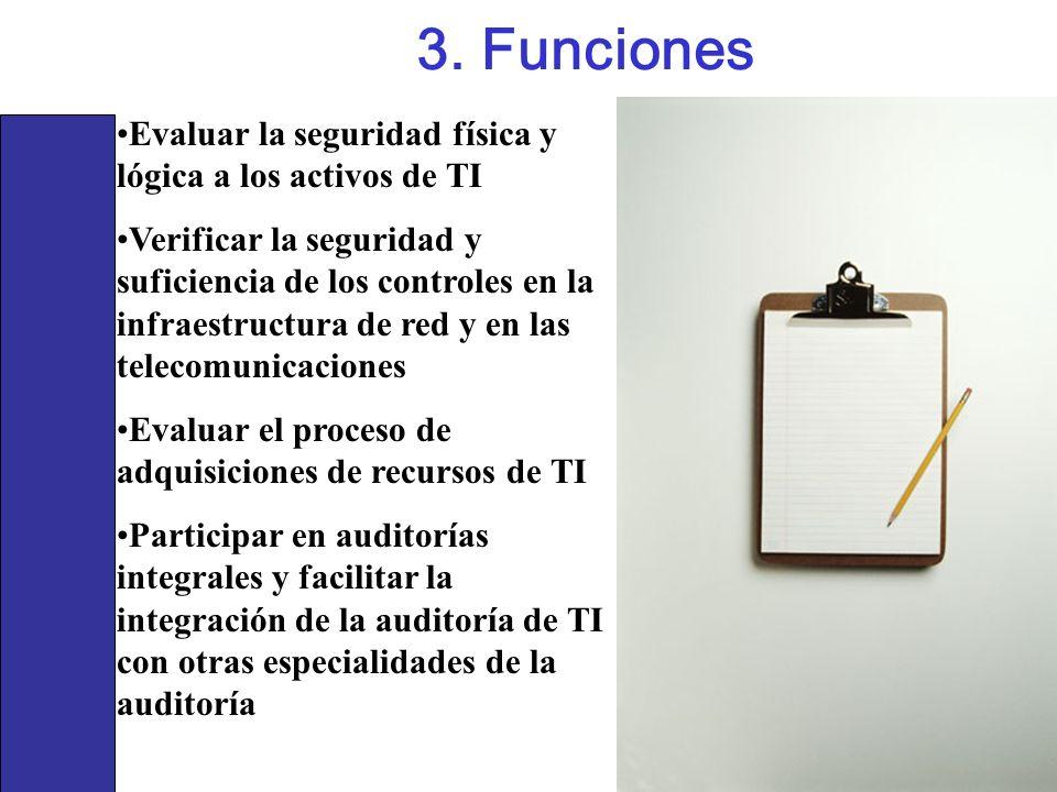 3. Funciones Evaluar la seguridad física y lógica a los activos de TI Verificar la seguridad y suficiencia de los controles en la infraestructura de r