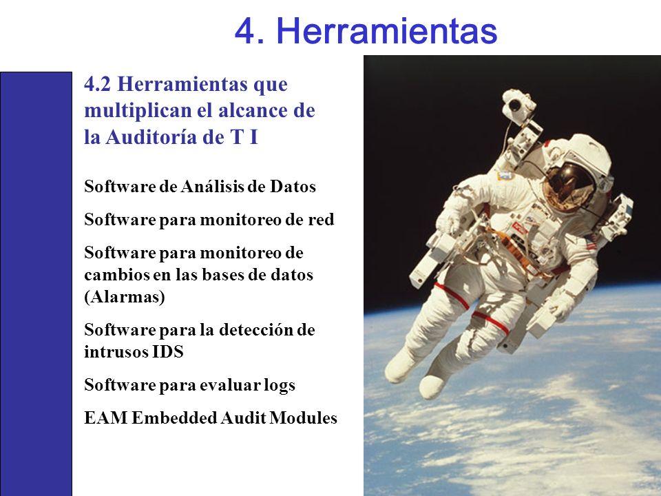 4.2 Herramientas que multiplican el alcance de la Auditoría de T I 4. Herramientas Software de Análisis de Datos Software para monitoreo de red Softwa