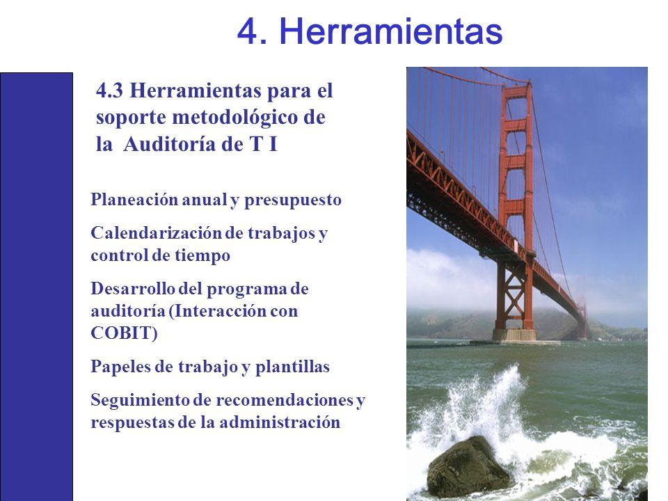 4.3 Herramientas para el soporte metodológico de la Auditoría de T I 4. Herramientas Planeación anual y presupuesto Calendarización de trabajos y cont