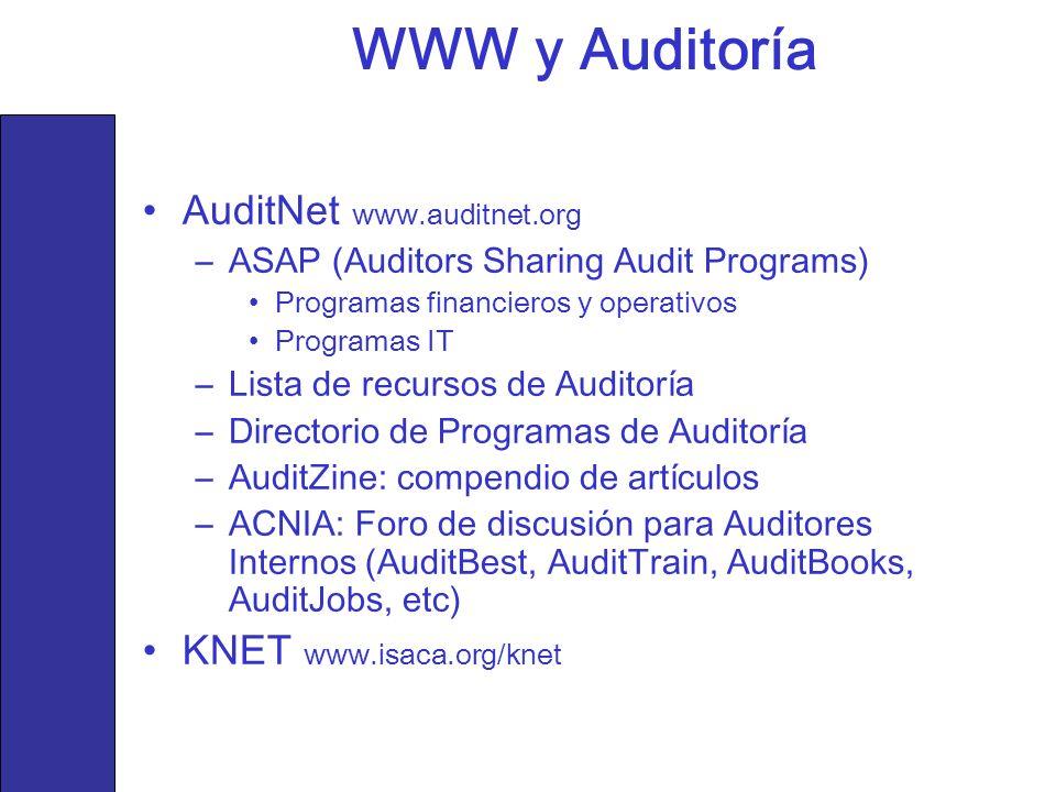 AuditNet www.auditnet.org –ASAP (Auditors Sharing Audit Programs) Programas financieros y operativos Programas IT –Lista de recursos de Auditoría –Dir