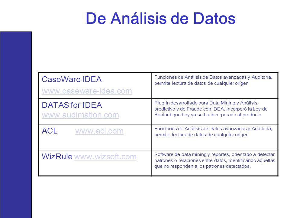 De Análisis de Datos CaseWare IDEA www.caseware-idea.com Funciones de Análisis de Datos avanzadas y Auditoría, permite lectura de datos de cualquier o