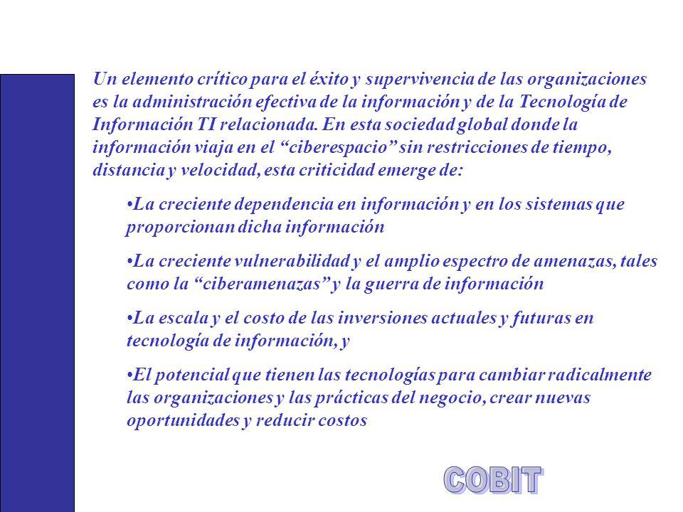 Un elemento crítico para el éxito y supervivencia de las organizaciones es la administración efectiva de la información y de la Tecnología de Informac