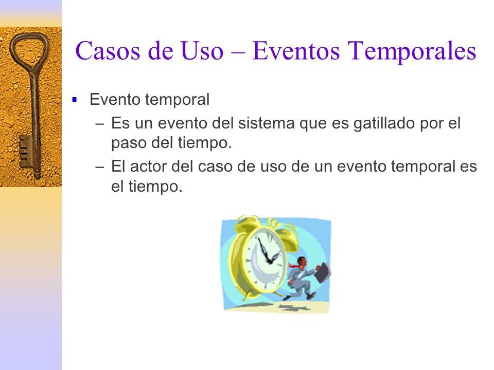 Casos de Uso – Eventos Temporales Evento temporal –Es un evento del sistema que es gatillado por el paso del tiempo. –El actor del caso de uso de un e