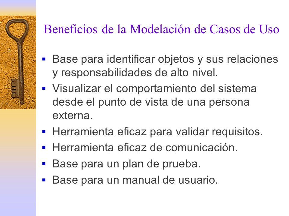 Beneficios de la Modelación de Casos de Uso Base para identificar objetos y sus relaciones y responsabilidades de alto nivel. Visualizar el comportami