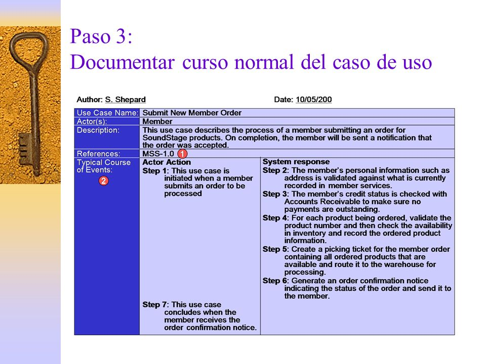 Paso 3: Documentar curso normal del caso de uso
