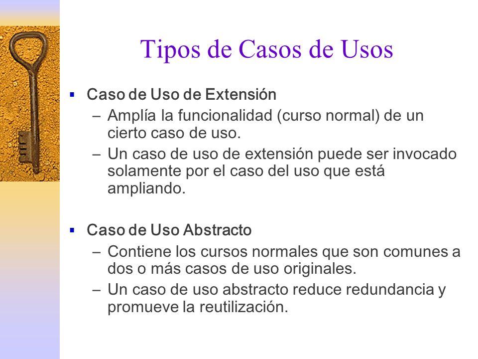 Tipos de Casos de Usos Caso de Uso de Extensión –Amplía la funcionalidad (curso normal) de un cierto caso de uso. –Un caso de uso de extensión puede s