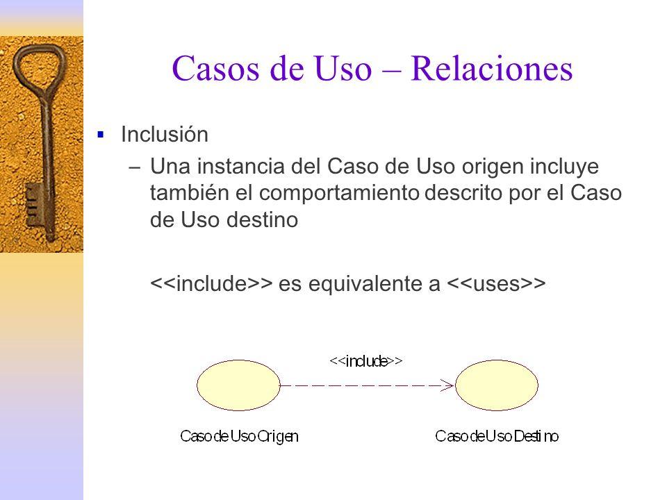 Casos de Uso – Relaciones Inclusión –Una instancia del Caso de Uso origen incluye también el comportamiento descrito por el Caso de Uso destino > es e