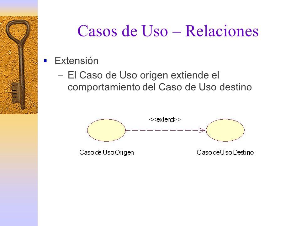 Casos de Uso – Relaciones Extensión –El Caso de Uso origen extiende el comportamiento del Caso de Uso destino