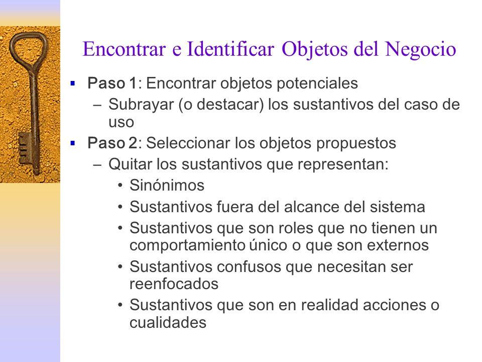 Encontrar e Identificar Objetos del Negocio Paso 1: Encontrar objetos potenciales –Subrayar (o destacar) los sustantivos del caso de uso Paso 2: Selec