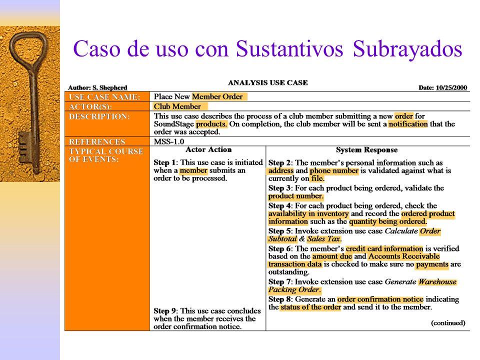 Caso de uso con Sustantivos Subrayados