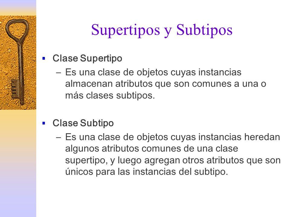Supertipos y Subtipos Clase Supertipo –Es una clase de objetos cuyas instancias almacenan atributos que son comunes a una o más clases subtipos. Clase