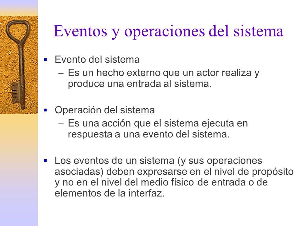 Eventos y operaciones del sistema Evento del sistema –Es un hecho externo que un actor realiza y produce una entrada al sistema. Operación del sistema
