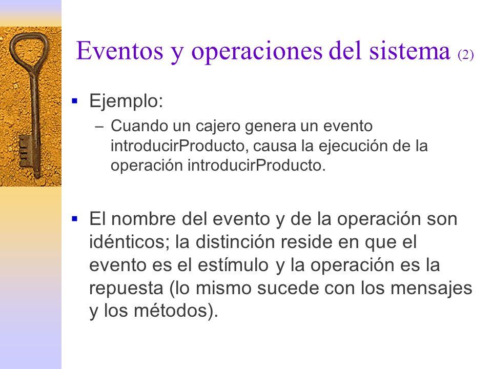 Eventos y operaciones del sistema (2) Ejemplo: –Cuando un cajero genera un evento introducirProducto, causa la ejecución de la operación introducirPro