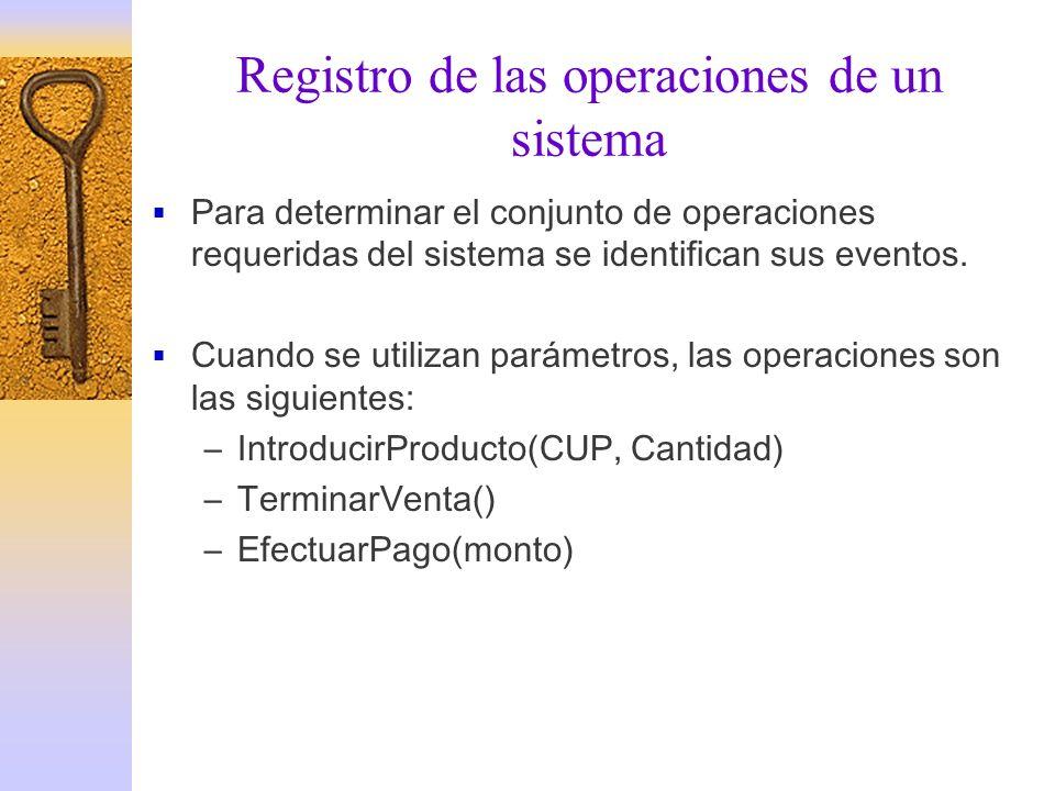 Registro de las operaciones de un sistema Para determinar el conjunto de operaciones requeridas del sistema se identifican sus eventos. Cuando se util