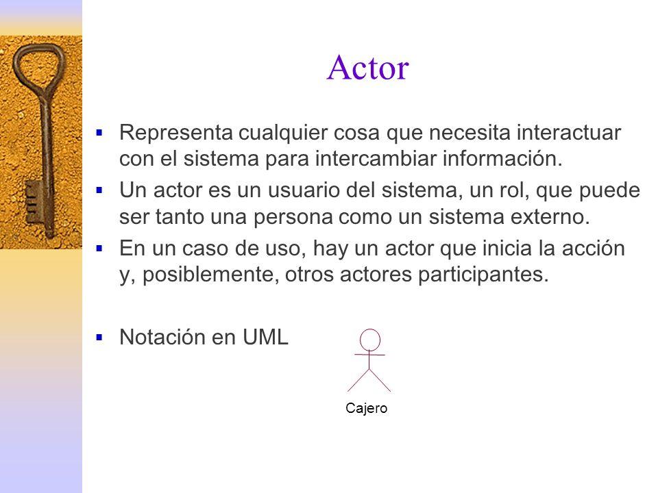 Actor Representa cualquier cosa que necesita interactuar con el sistema para intercambiar información. Un actor es un usuario del sistema, un rol, que