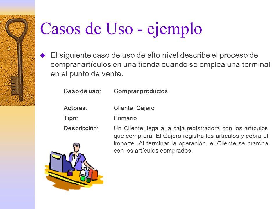 Casos de Uso - ejemplo El siguiente caso de uso de alto nivel describe el proceso de comprar artículos en una tienda cuando se emplea una terminal en