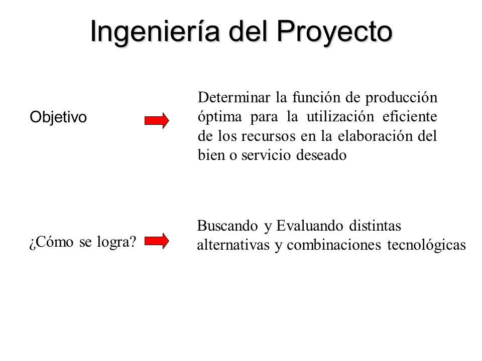 Ingeniería del Proyecto Objetivo Determinar la función de producción óptima para la utilización eficiente de los recursos en la elaboración del bien o