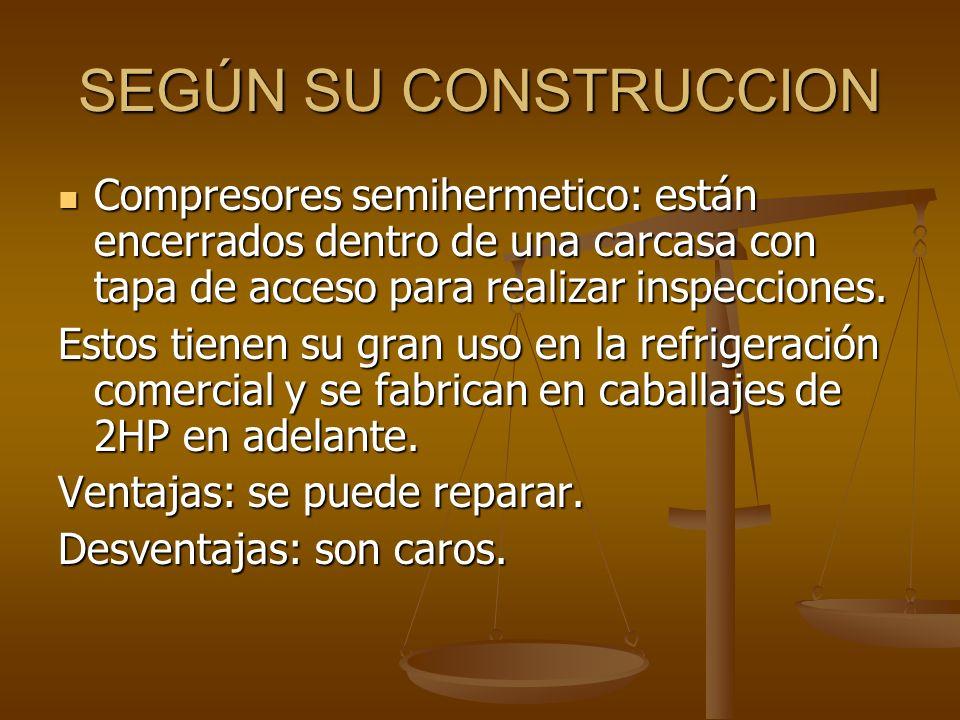 SEGÚN SU CONSTRUCCION Compresores semihermetico: están encerrados dentro de una carcasa con tapa de acceso para realizar inspecciones. Compresores sem