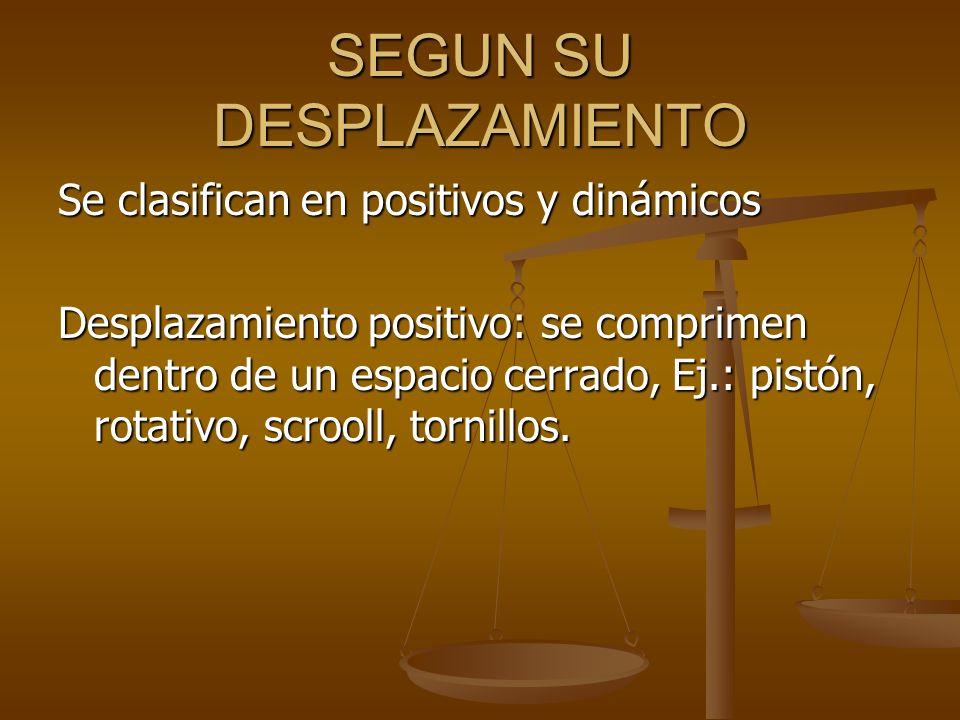 SEGUN SU DESPLAZAMIENTO Se clasifican en positivos y dinámicos Desplazamiento positivo: se comprimen dentro de un espacio cerrado, Ej.: pistón, rotati