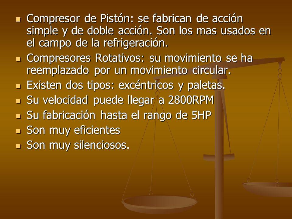 Compresor de Pistón: se fabrican de acción simple y de doble acción. Son los mas usados en el campo de la refrigeración. Compresor de Pistón: se fabri