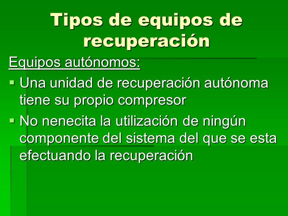 Tipos de equipos de recuperación Equipos autónomos: Una unidad de recuperación autónoma tiene su propio compresor Una unidad de recuperación autónoma